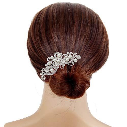 Bridal Wedding Hair Piece Crystal Rhinestones Pearls Women Hair Side Combs for Prom Crystal Headpiece for Women, Silver
