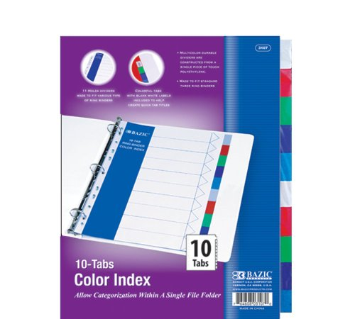 BAZIC 3-Ring Binder Dividers with 10 Color Tabs