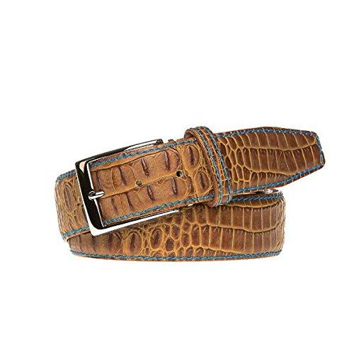 Gold Italian Mock Croc Leather Belt by Roger Ximenez: Bespoke Maker of Fine Leather Goods