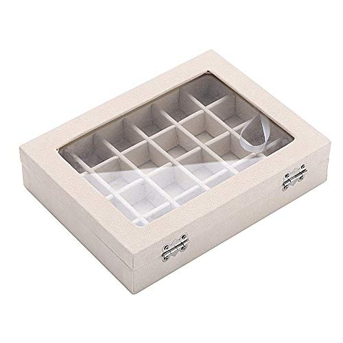 ZLY 24 Slot Velvet Glass Jewelry Box Organizer Rings Earrings Tray Display Storage Case ()