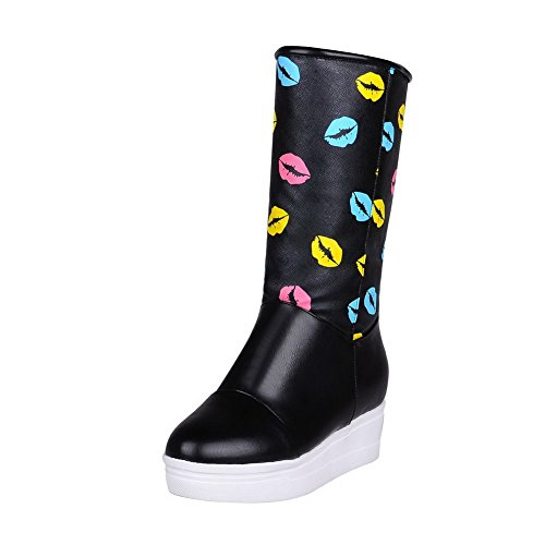 AdeeSu Girls Heighten Inside Pull-On Kitten-Heels Imitated Leather Boots Black uqJFm7sh