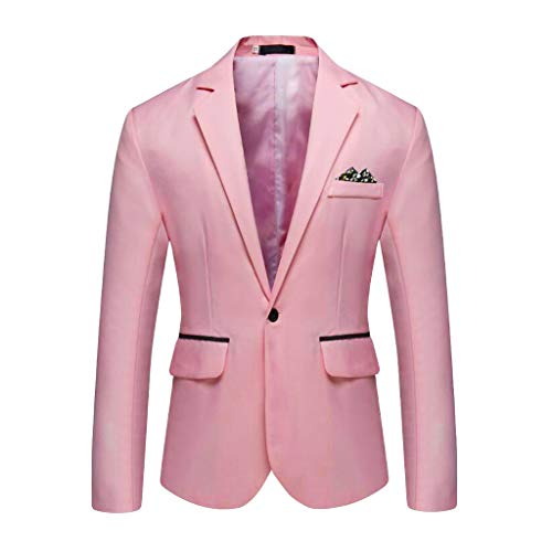 Outwear Coat Suit Tops Premium Classic Fit Suit Stylish Casual Solid Blazer Business Wedding Party Men's (XXL,11#Pink)