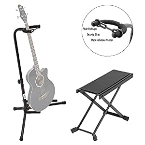 on stage black tripod guitar single stand on stage guitar foot rest deluxe. Black Bedroom Furniture Sets. Home Design Ideas