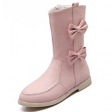 RTRY Zapatos De Mujer De Piel Sintética Pu Novedad Moda Otoño Invierno Confort Botas Botas Planas Botas De Tacón Puntera Redonda Mid-Calf Bowknot Por Parte &Amp; US6.5-7 / EU37 / UK4.5-5 / CN37