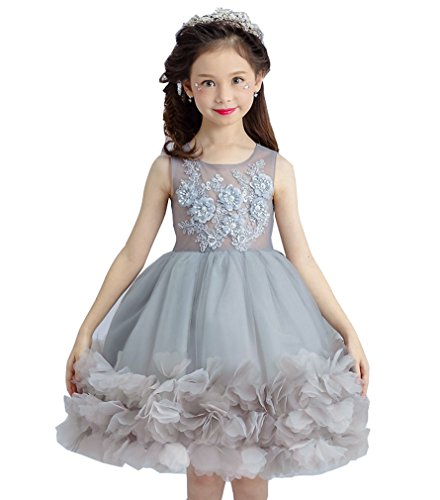 Ikerenwedding Flower Girls Beaded Applique Pageant Tulle Princess Gown Grey Size 3