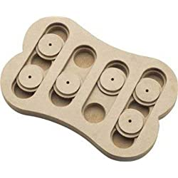 Ethical Pet Interactive Seek-A-Treat Shuffle Bone Dog Toy Puzzle that will improve your dog's IQ. Specially designed for dog training treats.