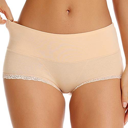 - WOWENY Invisible Best Fitting Hipster Panties for Women Quick Dry Breathable Travel Underwear 2 Pack (Beige(lace Trim), M)