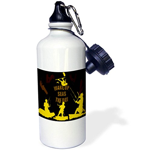 3dRose Taiche - Vector - Kitesurfing Wakeboarding - Wake Up Seas The Day Kiteboarder Brown and Yellow - 21 oz Sports Water Bottle (wb_269746_1) by 3dRose