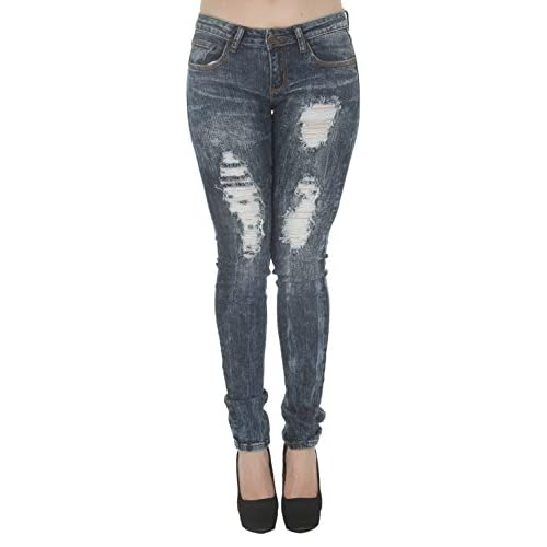 1A5566 – Women's Juniors Low Rise Distressed Destroyed Premium ...
