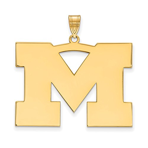 Michigan Extra Large (1 Inch) Pendant (14k Yellow Gold) by LogoArt