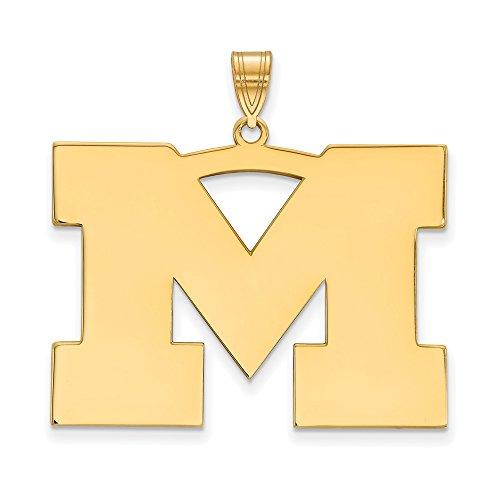 Michigan Extra Large (1 Inch) Pendant (14k Yellow Gold) by LogoArt
