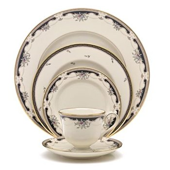 Lenox Hartwell House Gold Banded Ivory China Salad Plate Bouquet Blue Salad Plate