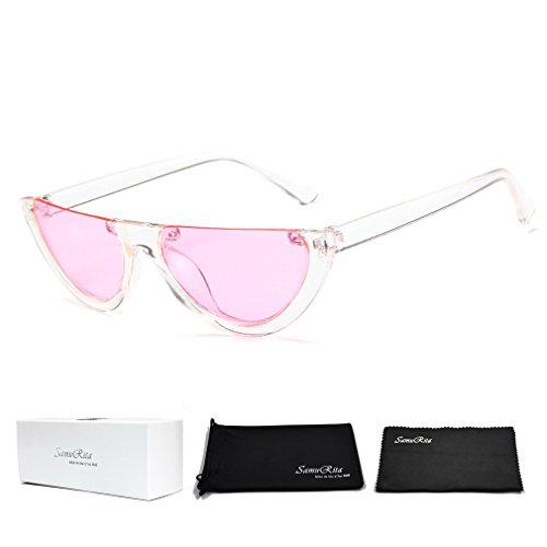 SamuRita Bold Half Lens Frame Cat Eye Sunglasses Mod Tinted Retro Shades(Pink+Clear - Clear Sunglasses Shades