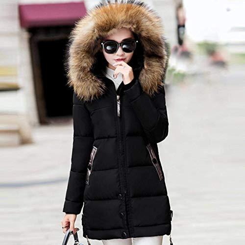 Caldo Fit Pelliccia Piumini Cappuccio Con Fashion Lunga Manica Trapuntata Prodotto Giacca Outerwear Cappotti Sintetica Invernali Especial Schwarz Donna Estilo Plus Slim Eleganti FvnZw