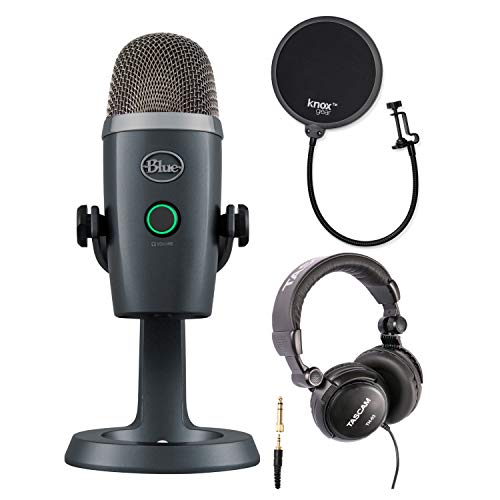 Blue Yeti Nano USB Microphone (Shadow Gray) with Studio Headphones and Knox Gear Pop Filter
