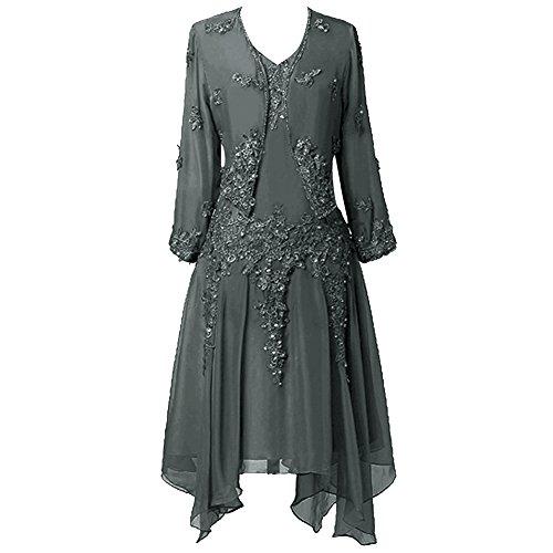 Chiffon Kleid Jacke Frauen HWAN Spitze Mutter R¨¹schen mit Applique der Stahlgrau Braut 4nAqBg
