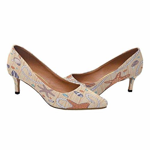 InterestPrint Womens Low Kitten Heel Pointed Toe Dress Pump Shoes Seastars,Rope,Seastones and Seashells on Wooden Background Multi 1