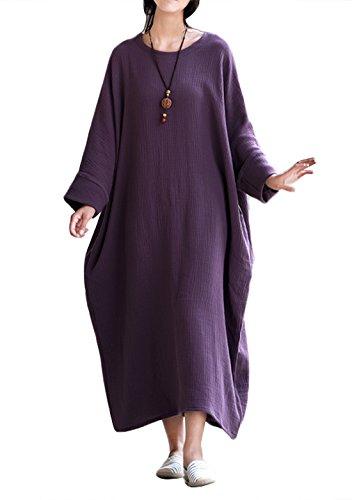 Transpirable Mujer para Ancha Maxi Primavera Happy Cherry Verano Otoño Vestido Suave Púrpura Larga Túnica Holgada xZq8ZvU0Fw