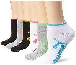 Puma Women\'s Half Terry Runner Socks 6-Pack, White Multi, 9-11