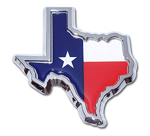 Muzzys TEXAS FLAG IN SHAPE OF TEXAS State Edition Emblem Decal Longhorn Lone Star METAL Badge Universal StickOn FITS Chevy Silverado Suburban Tahoe GMC Sierra Ford F150 Ranger F-150 Dodge -