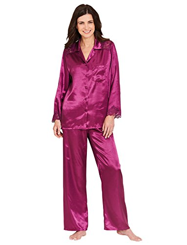 Mesdames Satin Dentelle Garniture Pyjamas Violet UK 14/16 / EU 42/44