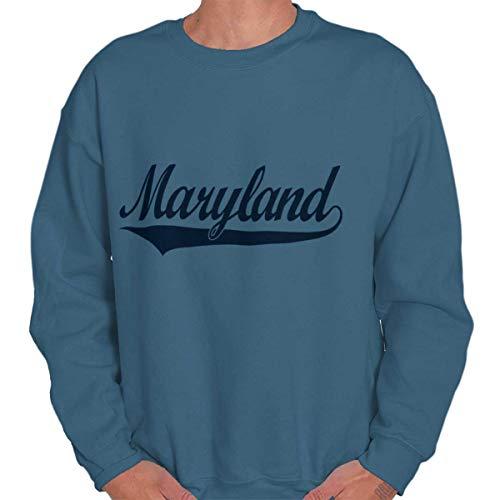 (Brisco Brands Maryland State Pride College University Hometown Apparel Crewneck Sweatshirt Indigo Blue)