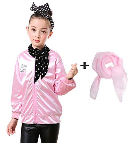 (Dorigan 1950s Child Pink Ladies Jacket with Scarf (M,)
