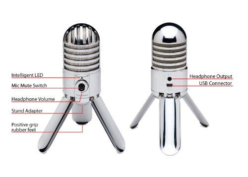 Photo Savings Samson Meteor Mic Studio USB Condenser Microphone and Headphones with Fibertique Cleaning Cloth (Chrome)
