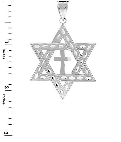 """10 ct 471/1000 Or Blanc Juive etoile de David-Croix- Pendentif (L) 2.2 """"(Livre Avec un 18"""" Chaine)"""