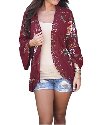 Girls' Summer Floral Lace Kimono Cardigan Open Front Cover up Blouse Maroon L - Lightweight Kimono