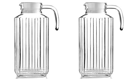 Glass Ware Ribbed Pitcher With Lid And Handle - 2 PACK 60oz Each.- Sleek And Elegant, For Milk, Iced Tea, Juices, Water etc. 1.8 L. (Lid is White)