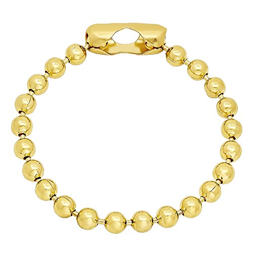 6.5mm 14k Yellow Gold Plated Pelline Style Rounded Ball Chain Bracelet, 9