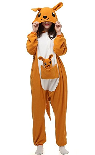 Shirendao Halloween Cosplay Unisex Child Adult Family One-piece Animal Pajamas Orange Kangaroo Adult-S -