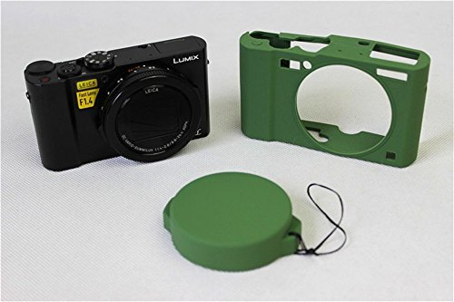 BolinUS Fullbody Ultra-thin Lightweight Rubber Soft Silicone Case Bag Cover for Panasonic Lumix LX10 DMC-LX10 - Silicone Dial Green Light