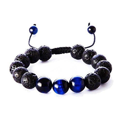 12mm Blue Ink - Balance Natural 12mm Tiger Eye Lava Rock Stones Bracelet,Healing Energy Beads Yoga Handmade Meditation Braided Wrist Bracelet for Men and Women(Ink Blue)
