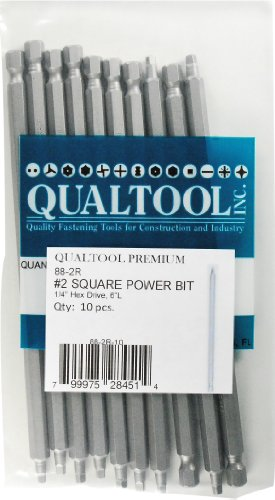 Qualtool Premium 88-2R-10 Size 2 Square Power Bit, 10-Pack