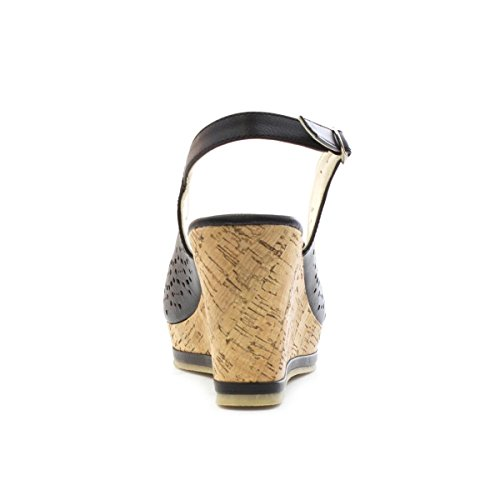 Lilley - Sandalia con punta abierta, taco cuña, negra, para mujer Lilley Negro