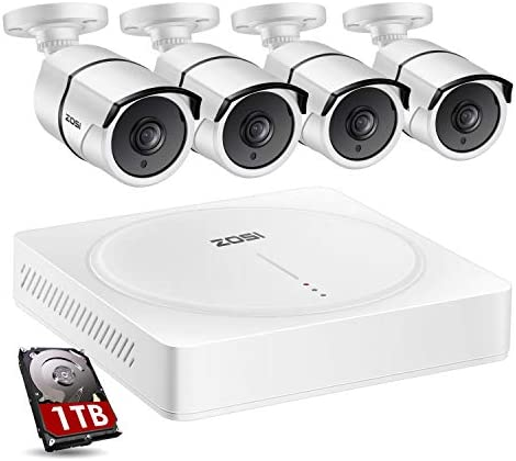 ZOSI H.265 8CH Security Camera System with Audio,5MP Lite CCTV DVR Recorder with Hard Drive 1TB,4pcs 1920TVL 1080P 2MP Audio Outdoor Indoor Cameras,150ft Night Vision, for 24 7 Video Audio Recording