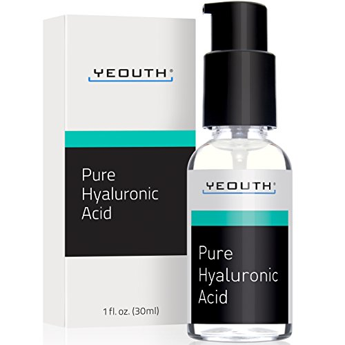 Hyaluronic Acid Serum for Face by YEOUTH - 100% Pure Clinical Strength Anti Aging Formula! Holds 1,000 Times Its Own Weight in Water, Plumps and Hydrates Skin, Reduces Wrinkle -All Natural Moisturizer (On The Spot Eye Makeup Remover)