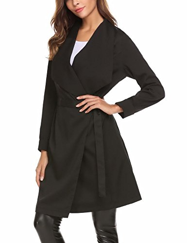 Mofavor Women's Lapel Collar Casual Open Front Cardigan Belted Trench Coat Jacket With Pockets(Black,L) by Mofavor (Image #4)