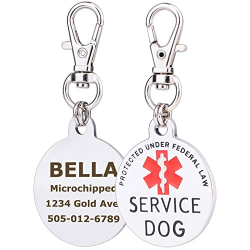 service dog engraved round id tag - 1