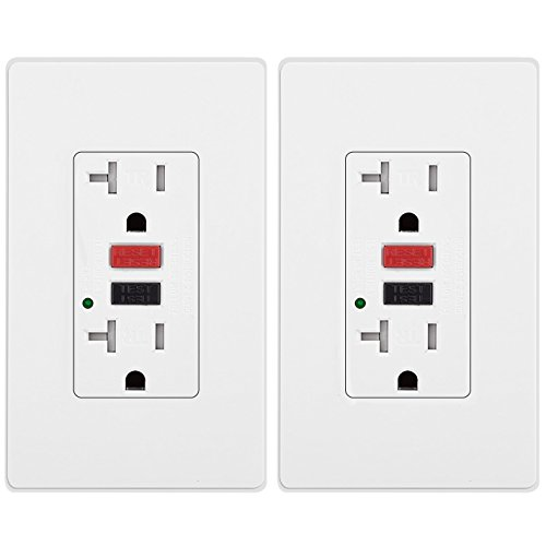 [2 Pack] BESTTEN Tamper-Resistant GFCI Receptacle Outlet (20A/125V/2500W), LED Indicator, 2 Types of Wall Plates and Screws Included, ETL Certified, ()