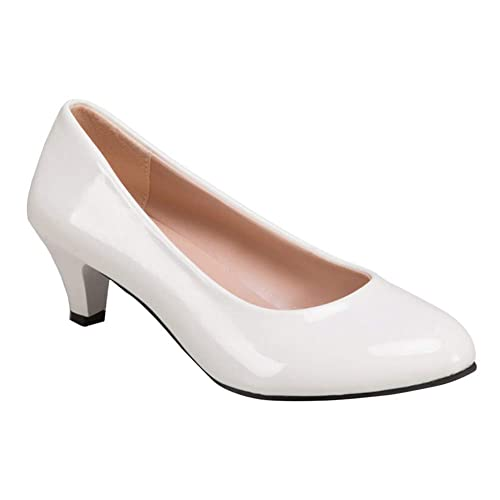 582f33a36 uirend Classic Court Shoes Pumps Women - Womens Patent Leather Ladies Mid Kitten  Heel Court Shoes