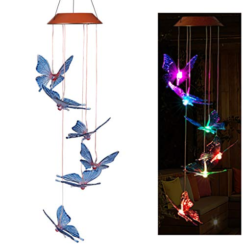 CXFF LED Solar Butterfly Wind Chimes Outdoor – Waterproof Solar Powered LED Changing Light Color 6 Butterflies Mobile Romantic Wind-bell For Home, Party, Festival Decor, Night Garden Decoration
