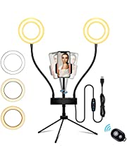 """5"""" Desktop Selfie Ring Light with Tripod Stand & Cell Phone Holder - 3 Light Modes Double LED Ring Light for YouTube Video/TikTok/Live Stream/Makeup/Photography, Compatible with iPhone/Android"""