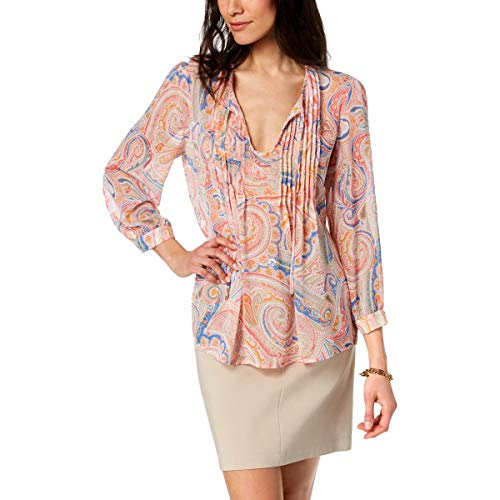 (Tommy Hilfiger Womens St. Tropez Printed Tie-Front Blouse Pink XL)