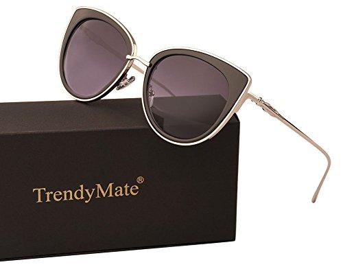 TrendyMate Women Metal Cute Cat Eye Sunglasses Mirror Lens Coating Sunglasses Fashion Eyewear (double grey, - Sunglasses Zero