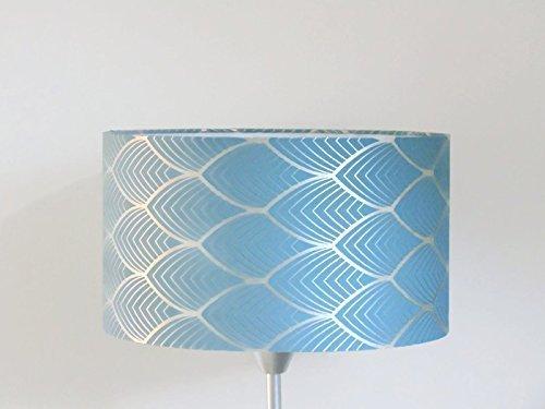 abat-jour art déco géométrique bleu et argent Luminaire diamètre personnalisé cylindre rond idée cadeau anniversaire décoration tendance