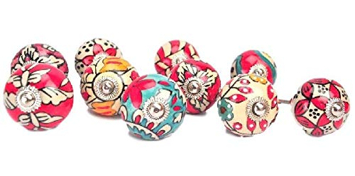 Karmakara Ornate Red Floral Ceramic Knobs For Cabinets & Cupboards - Hand Painted Pulls by Karmakara