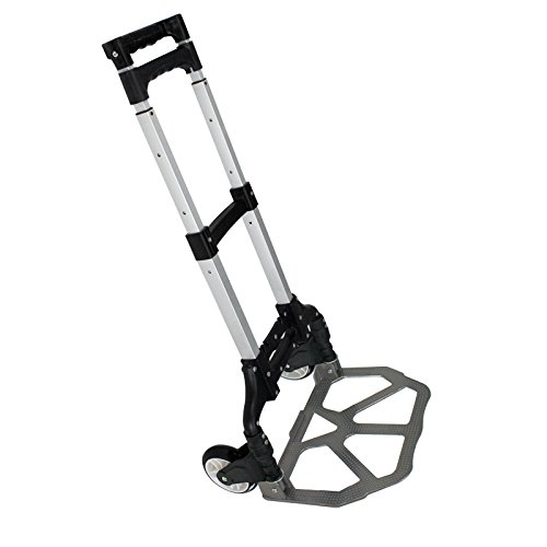 Super Deal Folding Luggage Cart Hand Trolley Wheel Cart Ideal Personal 170lb Capacity Aluminum Cart Folding Dolly w/ Telescopic Handle Folding Hand Truck Moving Warehouse Collapsible Trolley (black)